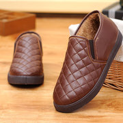Leather Waterproof Boots Warm Fur Lining Slip On Casual Shoes For Man