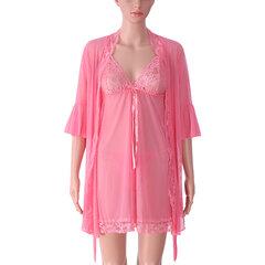Sexy Прозрачный Mesh платье Pure Color Perspective Robe пижамы наборы для женщин