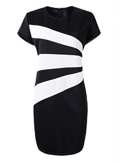 Plus Size Black and White Stripe Elegant Women Work Dress