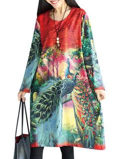 Women Vintage Loose Printed O-Neck Long Sleeve Midi Dress