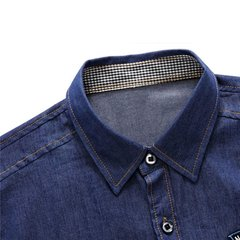 Men's Spring Fall Denim Cowboy Long Sleeve Shirts Tops Tees