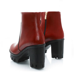 Big Size Pure Color Ankle Chunky Heel Zipper Boots