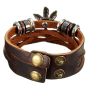 Handmade Woven Leather Maple Leaf Bracelet