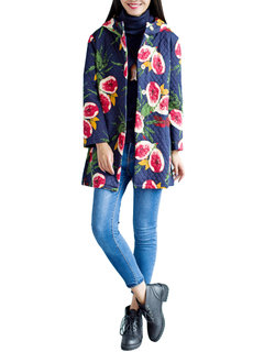 Women Floral Printed Long Sleeve Thicken Cotton Cardigan