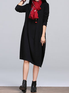 Casual Pure Color Long Sleeve O-Neck Knee-Length Dress For Women