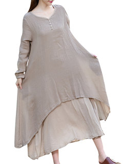 Solid Loose Layered Breathable Ethnic Style Long Sleeve Mid Dress