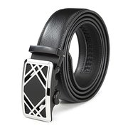 First Floor Cowhide Adjustable Grid Gold Alloy Automatic Buckle Belt