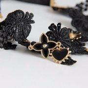 Европа ретро оголовье Черное кружево волос Упругие цветок Сердце головная повязка Хооп ювелирных изделий
