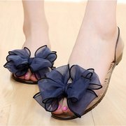 Flower Butterflyknot Transparent Jelly Peep Toe Fish Mouth Slip On Flat Sandals