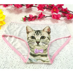 Sexy 3D Pussycat Cotton Breathable Panties Low Waist Underwear For Women