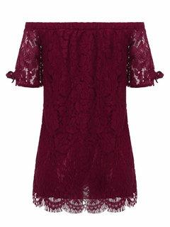 Кружева вязания плеча рубашки с коротким рукавом для женщин,