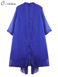 O-NEWE Casual Women Pure Color Layered Half Sleeve Irregular Cardigan