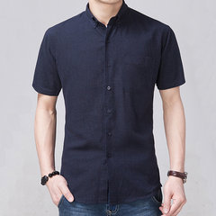 Summer Casual Breathable Solid Color Turn-down Collar Fashion Short Sleeve Shirt For Men