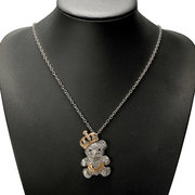 Crystal Bear Crown Sweater Alloy Necklace