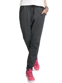 Sport Women Velvet Thick Drawstring Solid Harem Sweatpants