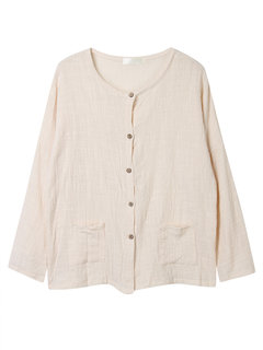 Casual Women Solid Button Pocket Cotton Linen Thin Cardigan