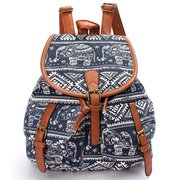 Women Canvas National Style Printed Bucket Backpack