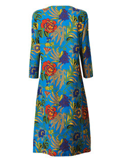 Casual Printing O-Neck Long Sleeve Pocket Straight Dress For Women