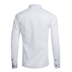 Casual Business Stitching Solid Color Slim Long Sleeve Dress Shirts for Men