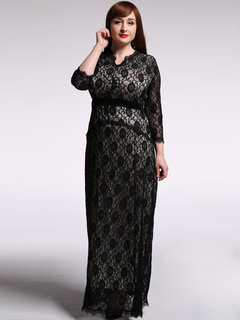 Elegant Lace Patchwork Long Sleeve Hollow Out Party Dress