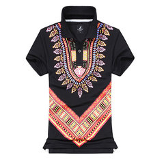 Vintage Style Printing Short Sleeve Turn-Down Collar Polo T-Shirt For Men