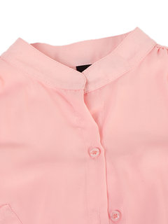 Casual Solid Ruffle Pocket Button Chiffon Blouse For Women