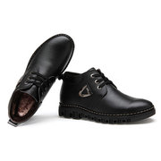 Men Leather Business Comfortable Keep Warm Lace Up Casual Shoes