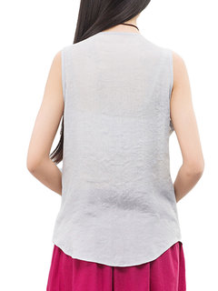 Women Sleeveless Fake Two Pieces Vintage Tank Tops