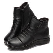 Metal Pure Color Zipper Soft Ankle Fur Lining Short Boots