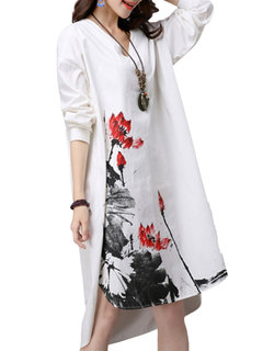 Casual Ink Printed V-Neck Ruffled High Low Dress For Women