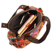 Women Casual Colorful Weave Genuine Leather Shoulder Bag