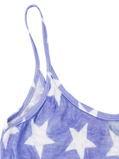 Strap Backless Flag Print Loose Tank Women  Tops