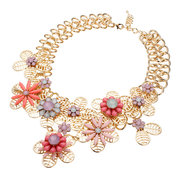 Resin Flower Gold Plated Chain Chunky Necklace