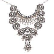 Vintage Silver Long Boho Bib Turkish Necklace