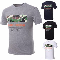 Men's Cotton T-shirt Camo Letters Printing Fashion Casual Top Tee