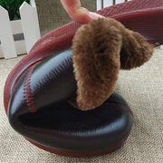 Big Size Leather Open Heel Stitching Furry Slip On Home Indoor Shoes
