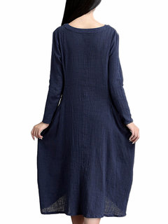 Casual Women Solid V-Neck Button Long Sleeve Dress