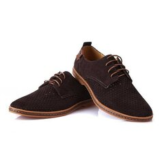 Big Size Men Leather Lace Up Hollow Breathable Casual Flat Oxford Shoes