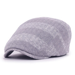 Men Women Knitted Stripe Beret Cap Adjustable Newsboy Cabbie Hat
