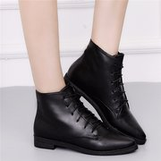 Vintage Black Gray Lace Up Ankle Flat Boots