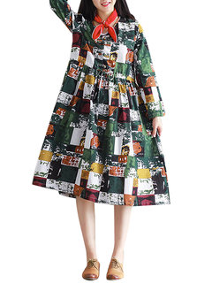 Vintage Printed Color Block Plate Button Drawstring A-Line Dress For Women