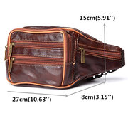 Men Genuine Leather Casual Outdoor Hiking Travel Multi-pocket Waist Bag