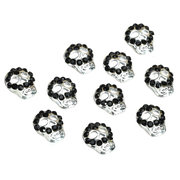 10 Pcs 3D Black Face Skull Nail Art Decoration Lady Girls Metal Alloy Halloween
