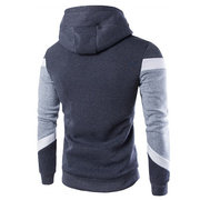 Mens Hoodies Patchwork Stitching Color Slim Fit Casual Sport Hooded Tops