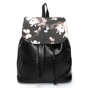Women Girl PU Travel Floral Travel Backpack Casual School Bags