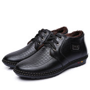 Men Winter Warm Leather British Style Lace Up Boots