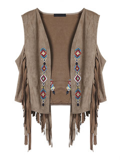 Fashion Suede Leather Embroidered Lapel Collar Tassel Vest Jacket