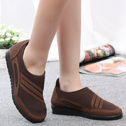 Color Match Stripe Canvas Slip On Driving Lazy Flat Shoes