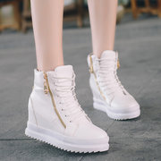 Double Zipper Lace Up Ankle Heel Increasing Boots
