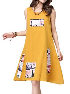 Women Ethnic Sleeveless O Neck Floral Printed Vintage Dress